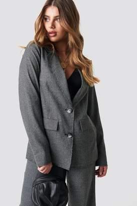 Na Kd Trend Dogtooth Raw Edge Blazer Grey