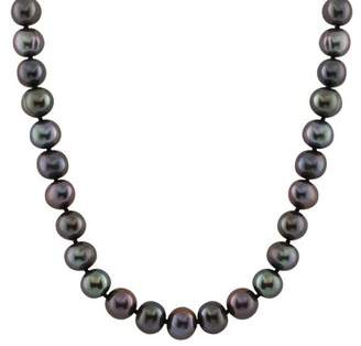Splendid Pearls 14K White Gold 10-11mm Cultured Freshwater Dyed Black Pearl Necklace