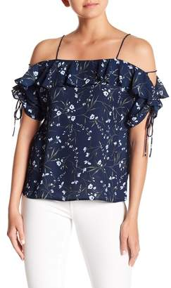 Cynthia Steffe CeCe by Cold Shoulder Laced Sleeve Floral Top