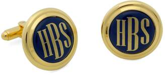 Brooks Brothers Gold and Blue Hand Painted Enamel Cuff Links