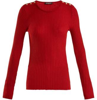 Balmain Ribbed Knit Wool Blend Top - Womens - Red