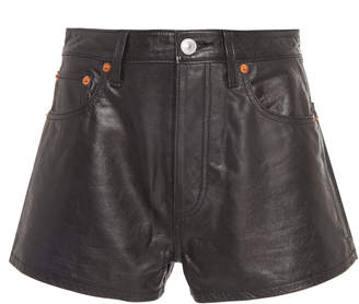 RE/DONE Fitted Leather Shorts