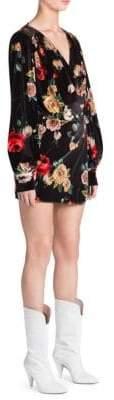 ATTICO Floral Velvet Mini Robe Dress
