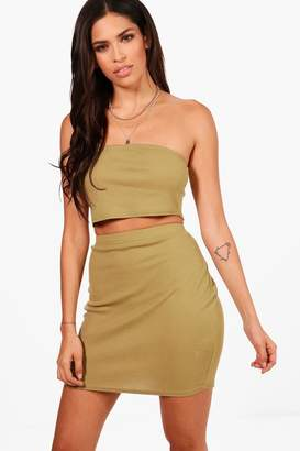 boohoo Basic Bandeau and Mini Skirt Co-ord