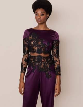 Agent Provocateur Nayeli Pyjama Top Plum and Black
