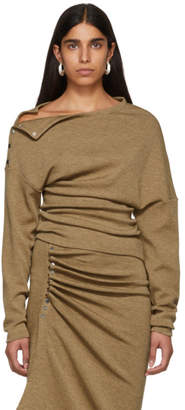Paco Rabanne Brown Wool Off-The-Shoulder Pullover