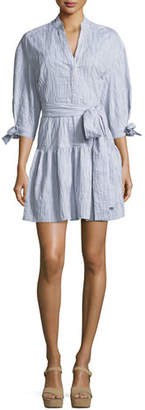 Derek Lam 10 Crosby 3/4-Sleeves Belted Textured Cotton Shirtdress