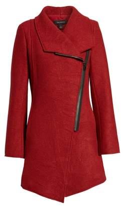 Halogen Asymmetrical Zip Boiled Wool Blend Coat