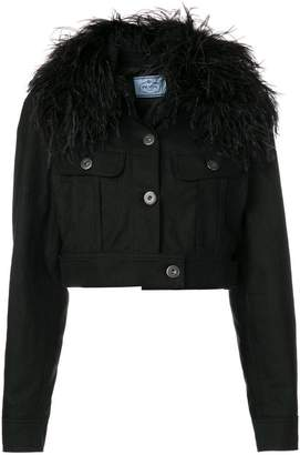 embellished cropped denim jacket