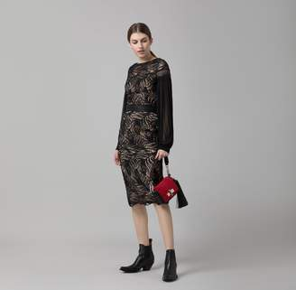 Amanda Wakeley Black Paisley Lace Midi Dress