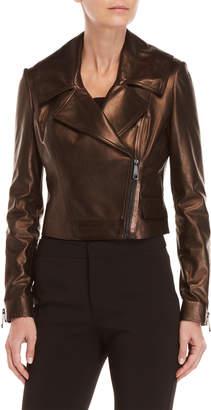 Carolina Herrera Bronze Leather Moto Jacket