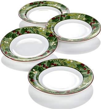 222 Fifth Christmas Foliage 4-Pc. Appetizer Plate Set
