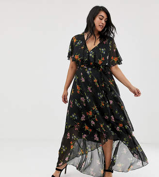 Asos DESIGN Curve maxi dress with cape back and dip hem in dark floral print
