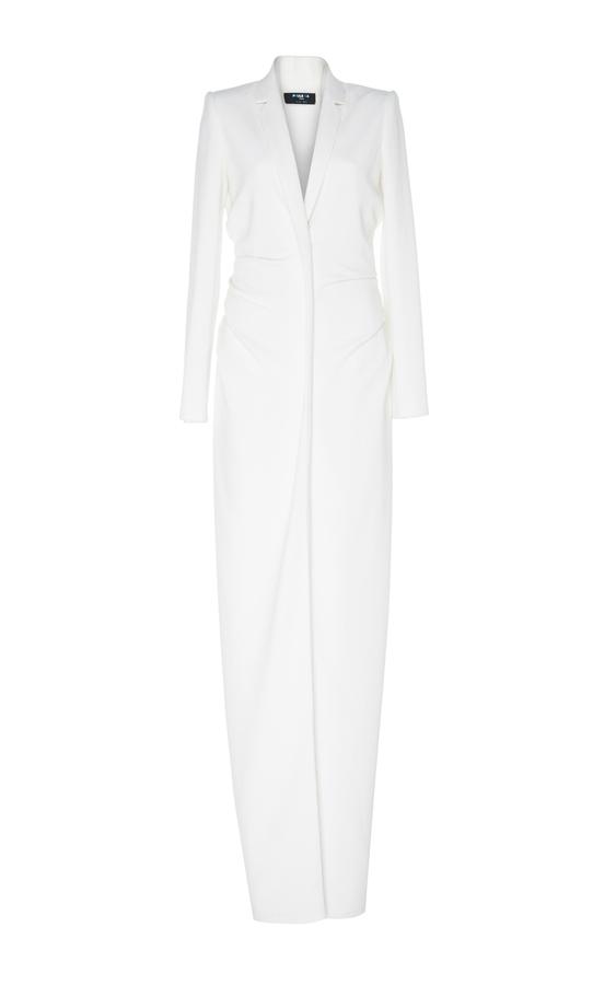 Paule KaPaule Ka Crepe V-Neck Long Sleeve Gown