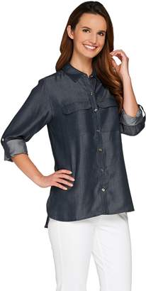 """C. Wonder Button Front Woven """"Carrie"""" Blouse with Patch Pockets"""