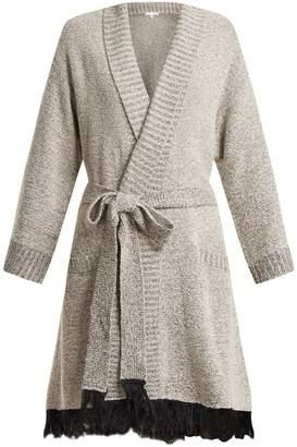 SKIN Fringed bouclé-knit cotton-blend robe