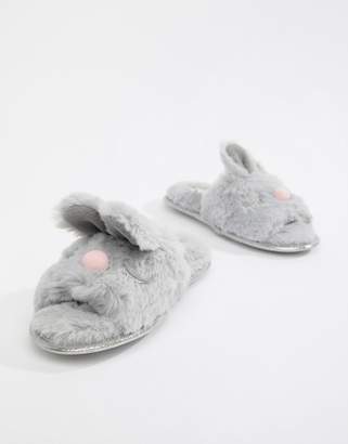 Head Over Heels by Dune Flopsy Gray Fluffy Bunny Face Mule Slippers