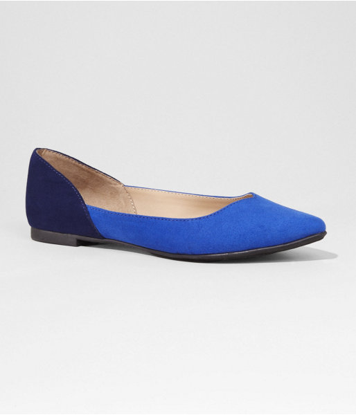 Express Pointed Toe Two Tone Sweetheart Vamp Flat