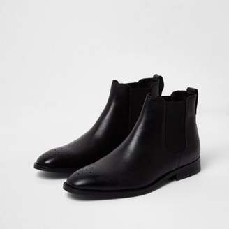 River Island Mens Black leather brogue chelsea boots