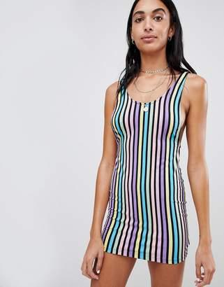 Motel Bodycon Mini Dress In Rainbow Candy Stripe