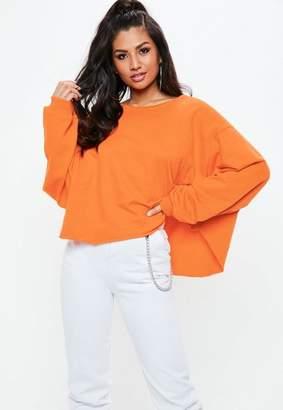 Missguided Orange Raw Hem Cropped Sweatshirt