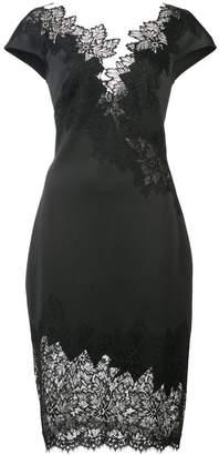 Tadashi Shoji lace trim mini plunge dress