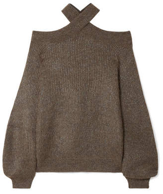 Brunello Cucinelli Cold-shoulder Metallic Ribbed-knit Sweater - Chocolate