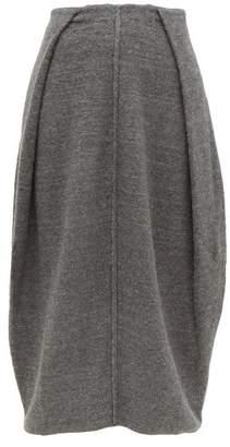 Jil Sander Knife Pleated Cashmere Blend Midi Skirt - Womens - Dark Grey