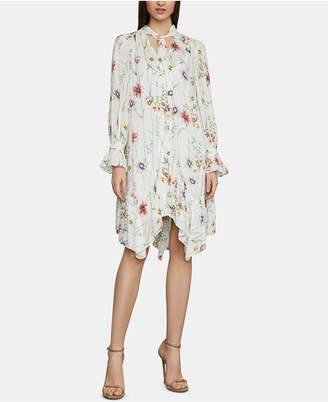 BCBGMAXAZRIA Floral-Print Tie-Neck Shift Dress