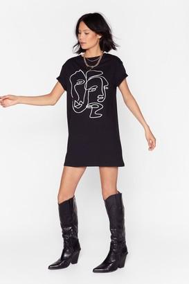 Nasty Gal Womens Two Faced Tee Dress - Black - 10, Black