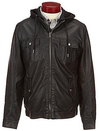 Buffalo David BittonBuffalo David Bitton Jafur Vegan Leather Hooded Jacket