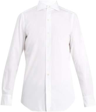 Finamore Spread-collar cotton-poplin shirt