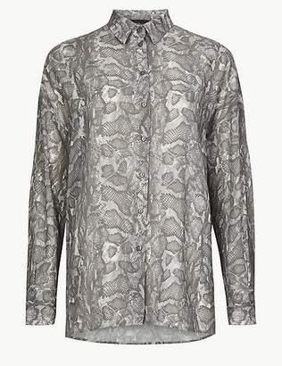 Marks and Spencer Oversized Animal Print Long Sleeve Shirt