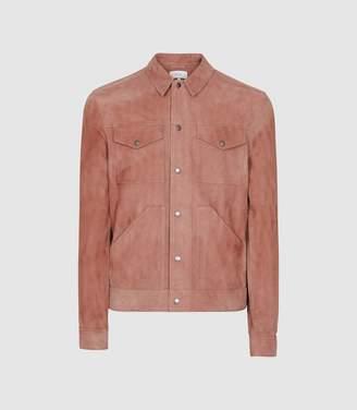 Reiss Sakura - Suede Trucker Overshirt in Soft Pink