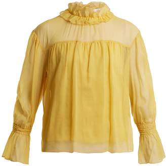 See by Chloe Ruffled-neck silk blouse