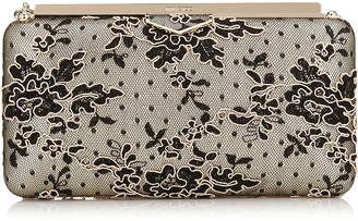 Jimmy Choo ELLIPSE Black and Nude Floral Corded Lace Clutch Bag