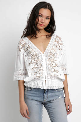 Blue Boheme Daisy Lace V Neck Blouse