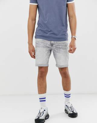Bershka slim fit denim shorts with raw hem in acid wash gray