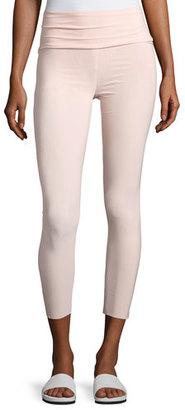 Norma Kamali High-Rise Cropped Sport Legging, Blush $99 thestylecure.com