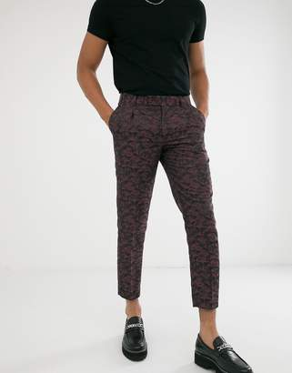 Asos Edition EDITION tapered crop smart trousers in pink and purple floral jacquard