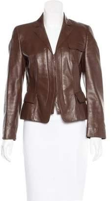 Akris Punto Leather Long Sleeve Jacket