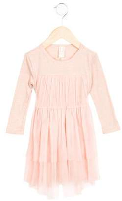 Tia Cibani Girls' Tulle-Accented Long Sleeve Dress