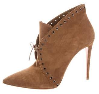 Prada Suede Lace-Up Ankle Boots