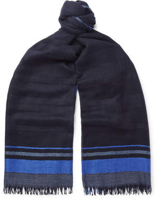 Co Begg & Staffa Fringed Striped Cashmere And Silk-Blend Scarf