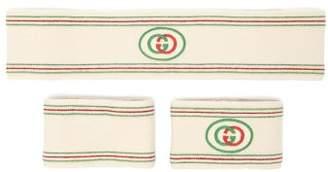 Gucci Gg Web Stripe Head And Wristband Set - Mens - White Multi