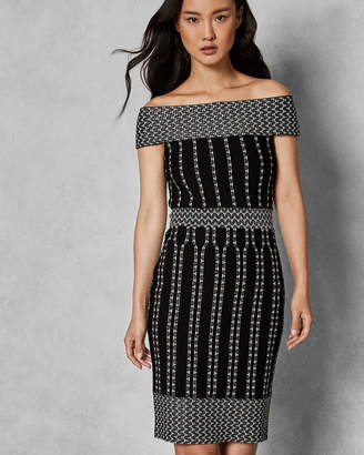 Ted Baker YOLINII Stripe jacquard bodycon dress