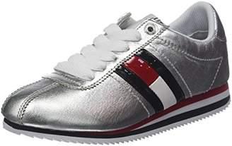 Tommy Jeans Hilfiger Denim Women's Retro Silver Low-Top Sneakers