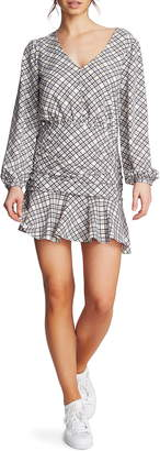 1 STATE 1.STATE Ruched Plaid Crepe Minidress