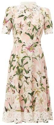 Dolce & Gabbana Floral Print Silk Midi Dress - Womens - Pink Multi