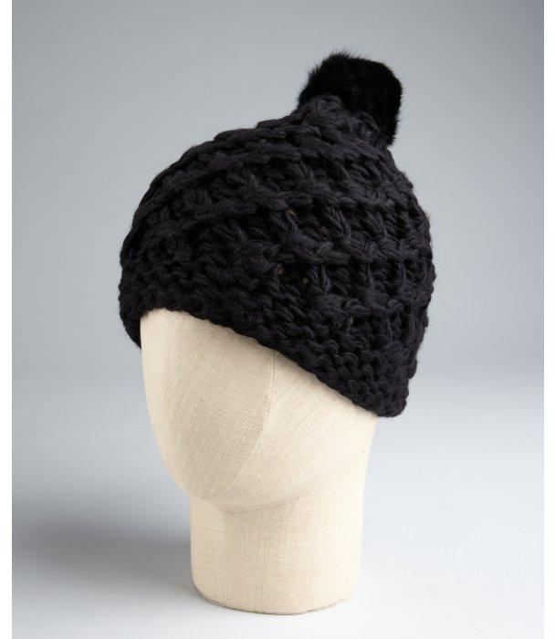 Vince Camuto black tuck stitch 'Crocket' fur pompom beanie